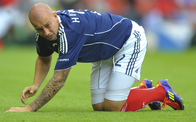 Private: (Image) Done deal: Former Tottenham and Aston Villa defender Alan Hutton joins Mallorca