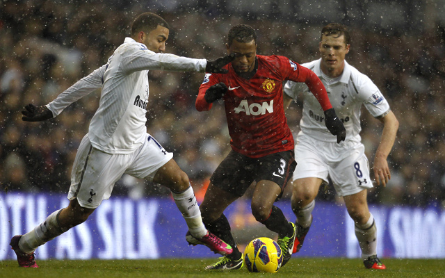 Private: (GIF) Manchester United's Patrice Evra pelted with snowballs at White Hart Lane