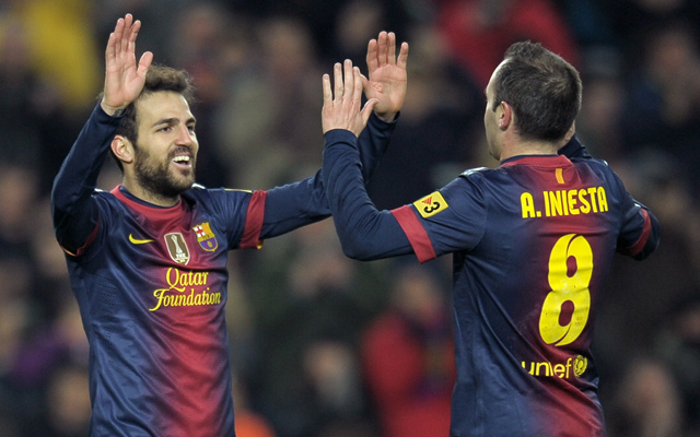 Private: (GIF) Cesc Fabregas and Andres Iniesta combine to score a beautiful goal for Barcelona