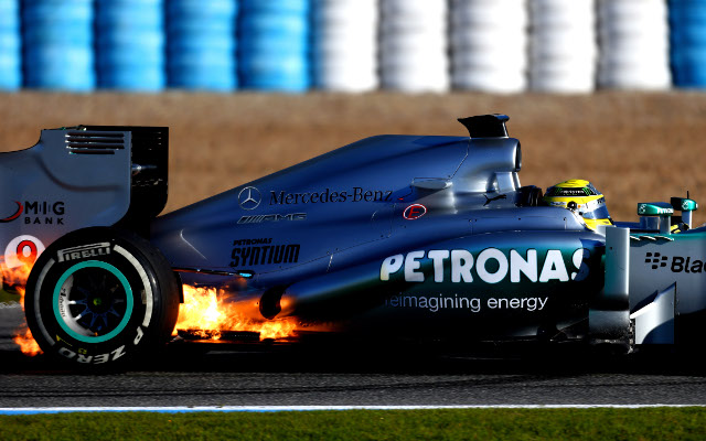 Private: (Image) Lewis Hamilton's Mercedes team on fire – literally