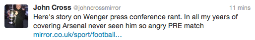 John Cross Arsenal twitter