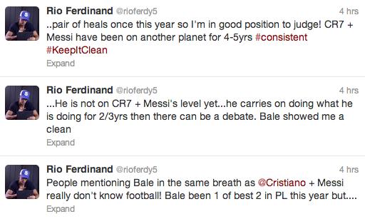 Rio Ferdinand tweet Bale
