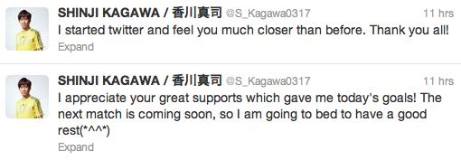 Shinji Kagawa tweet