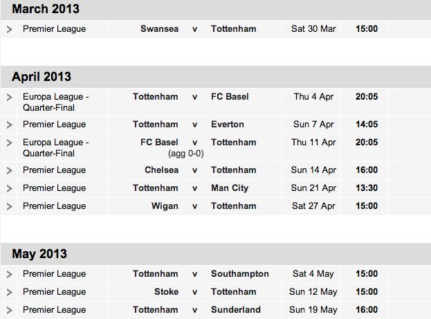 Tottenham Hotspur fixtures