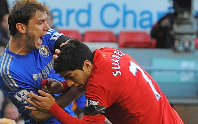 Luis Suarez Liverpool Branislav Ivanovic Chelsea