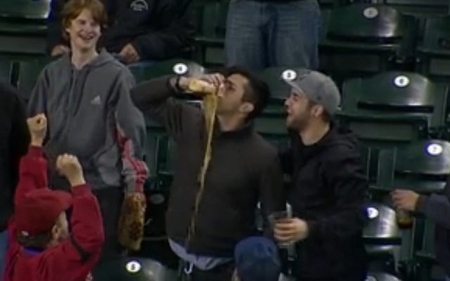 (GIF) Baseball fan celebrates catching a baseball in his cup in sensational style