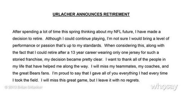 urlacher retires