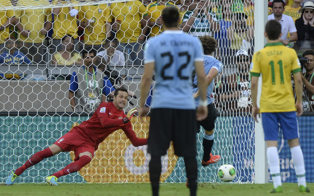 (GIF) Arsenal target Julio Cesar makes cracking penalty save for Brazil v Uruguay