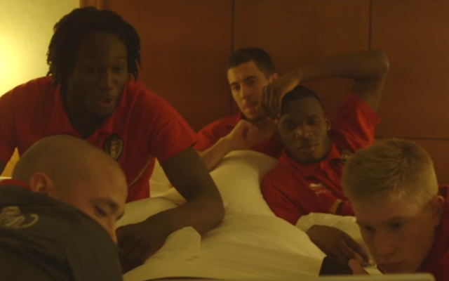 (Video) Chelsea stars Eden Hazard and Romelu Lukaku get intimate in a hotel room with international teammates