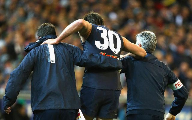 (Video) Carlon Blues' star Jarrad Waite subbed off with lower leg injury