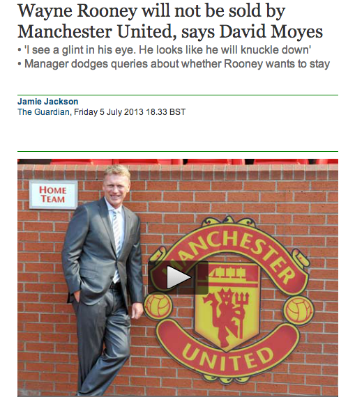 rooney will not be sold moyes