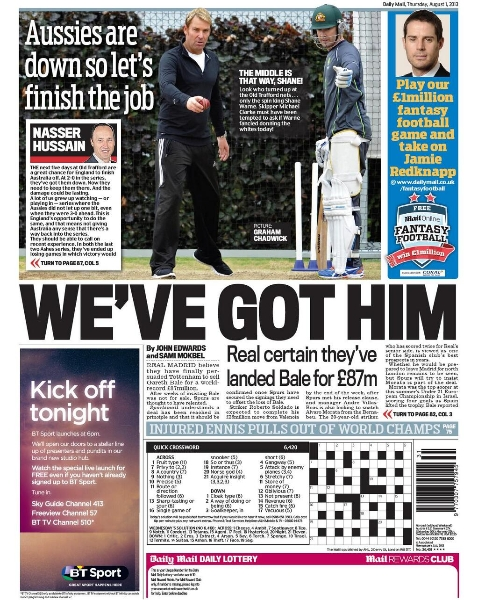Daily Mirror backpage bale