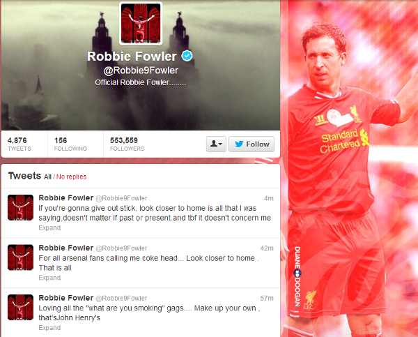 Liverpool striker Robbie Fowler suggests Arsenal player on cocaine