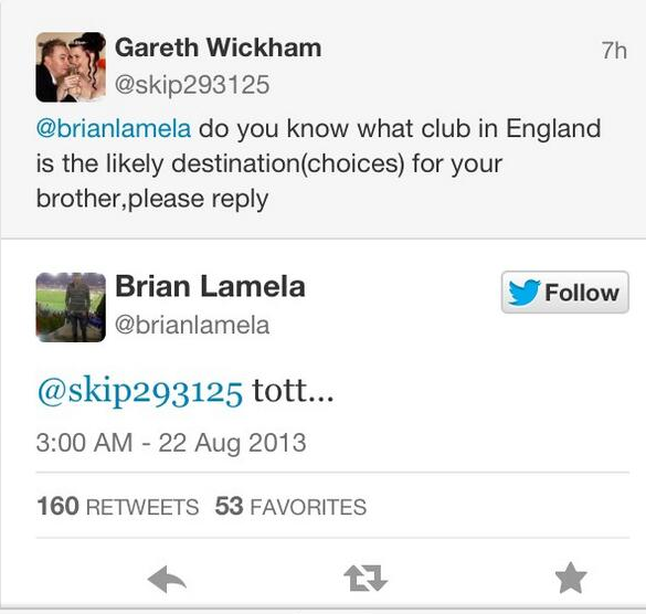 Erik Lamela brother tweet