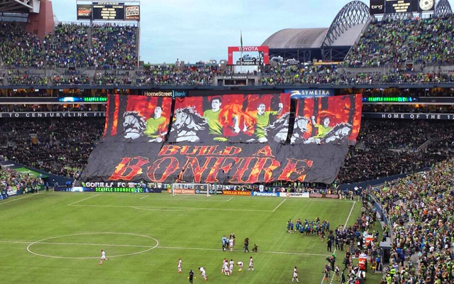 Seattle Sounders tifo vs Portland Timbers