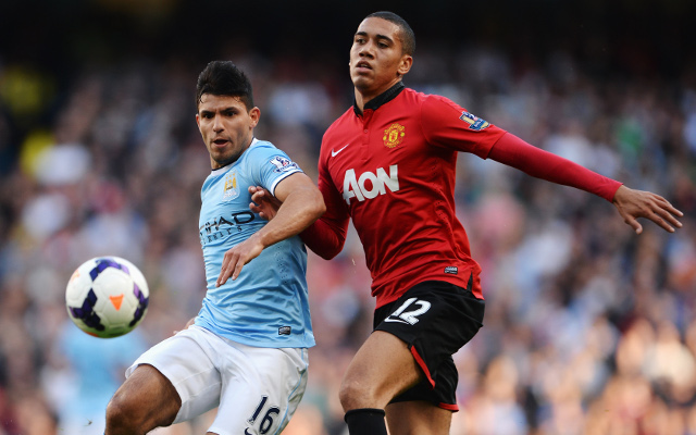 Sergio Aguero Chris Smalling Manchester City Manchester United