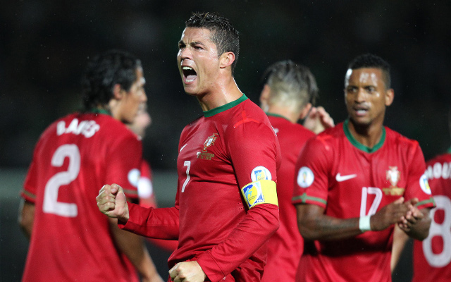 (GIF) Cristiano Ronaldo diving header gives Portugal 1-0 lead over Sweden in World Cup play-off