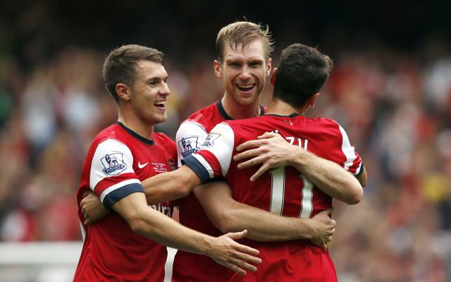 Aaron Ramsey Per Mertesacker Mesut Ozil Arsenal