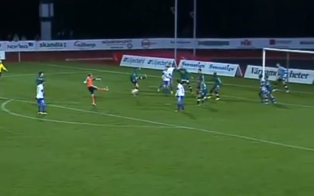 (Video) Swedish goalkeeper scores cracking last minute volley to secure vital point