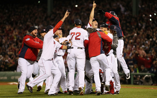 Boston Red Sox win their first World Series at Fenway Park since 1918