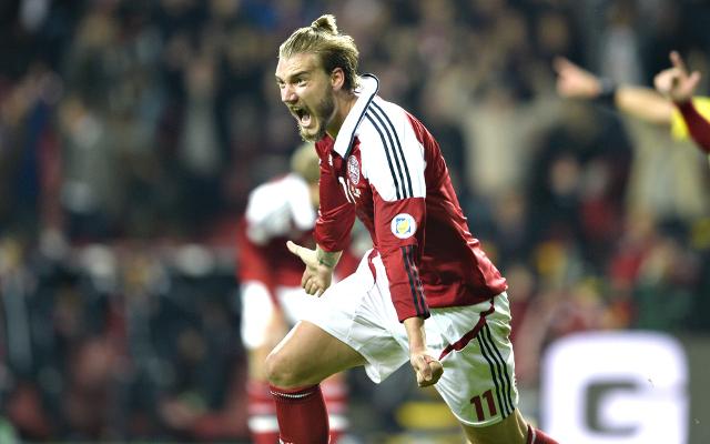 (Videos) Arsenal misfit Nicklas Bendtner scores brace of headers for Denmark vs Italy