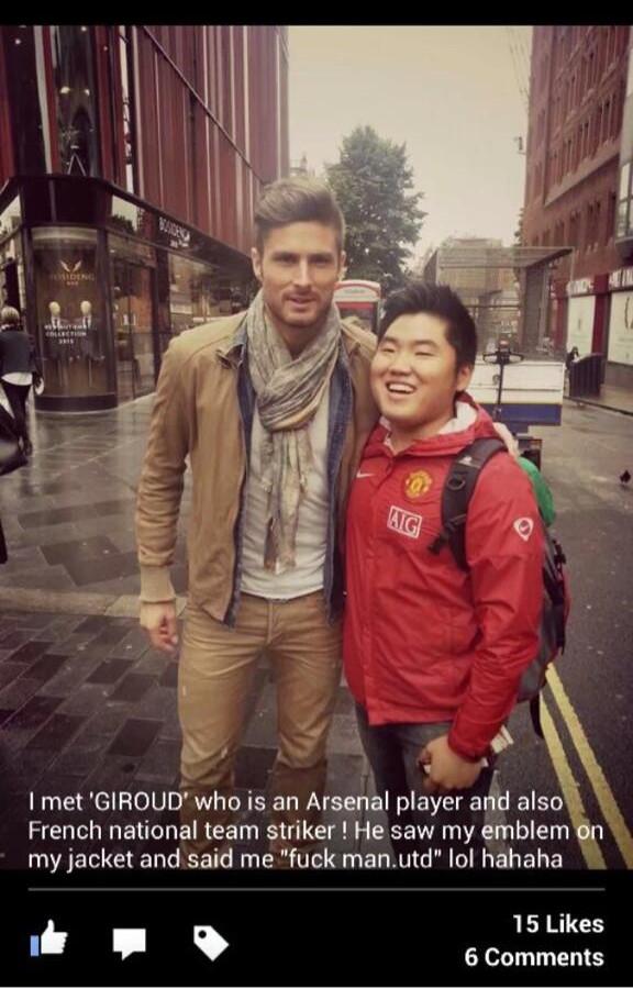giroud with man united fan