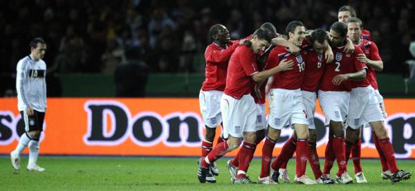 England celebrate v Germany