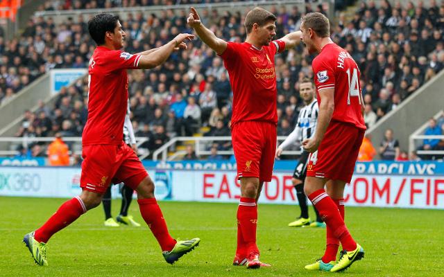 Luis Suarez Steven Gerrard Jordan Henderson Liverpool