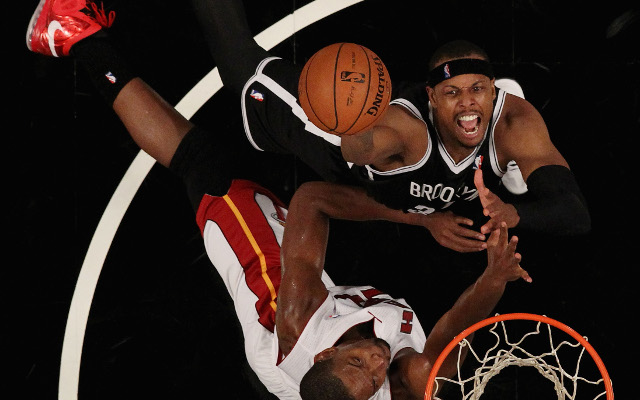 (Video) Brooklyn's Paul Pierce blocks LeBron James at the rim