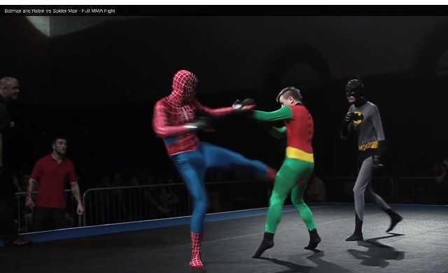 (Video) Spiderman fights Batman and Robin in 'MMA fight'