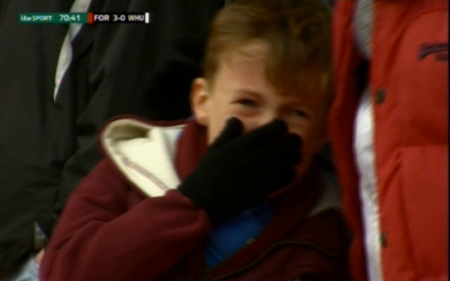 This crying child is set to receive an amazing gift from generous West Ham owners
