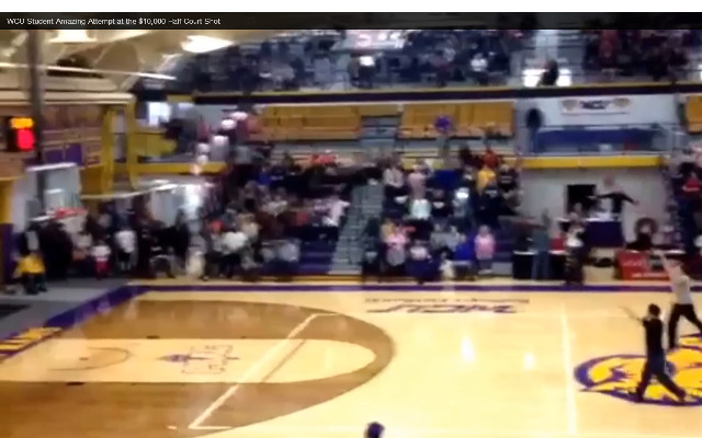(Video) WCU student makes amazing attempt at the $10,000 half court shot