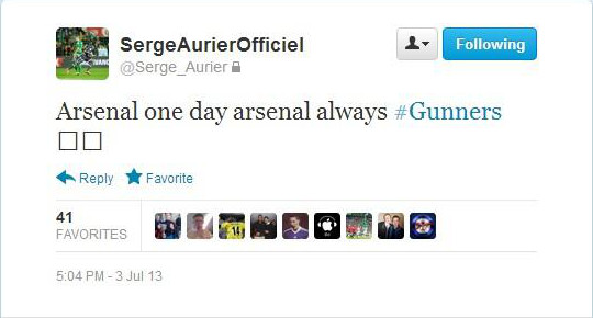 Toulouse Serge Aurier Tweet Arsenal Transfer