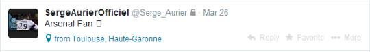 Toulouse Serge Aurier Tweet Arsenal fan