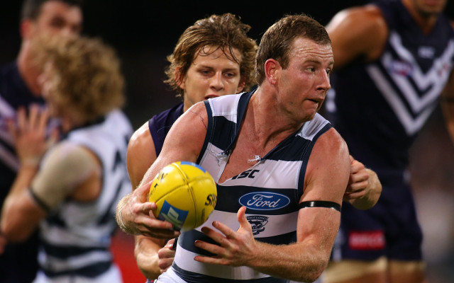 Geelong's Steve Johnson set to be banned by the AFL for hit on Scott Thompson