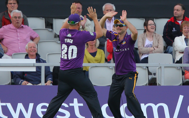 (Video) Adam Lyth and Aaron Finch combine for the best cricket catch ever