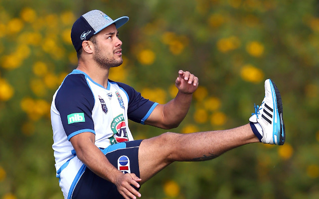 (Video) Jarryd Hayne makes an insane try-line field goal at NSW training