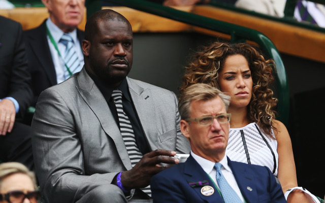 NBA superstar Shaquille O'Neal watches Wimbledon Day 1 from Royal Box