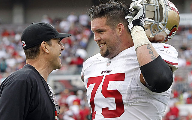 "49ers G Alex Boone says former HC Jim Harbaugh might be ""clinically insane"" and wore out welcome in San Francisco"
