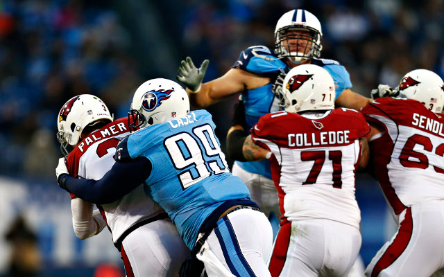 Tennessee Titans defensive linemen maul sleds in practice