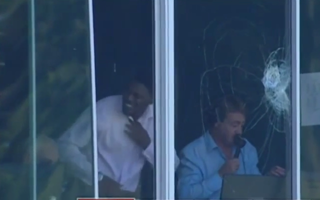 (Video) Mitchell Johnson smashes commentary box window with huge six against Zimbabwe