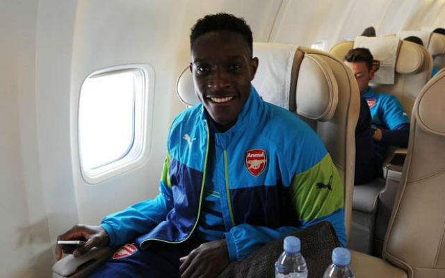 (Image) Arsenal Star Danny Welbeck poses on flight to Dortmund for Champions League clash