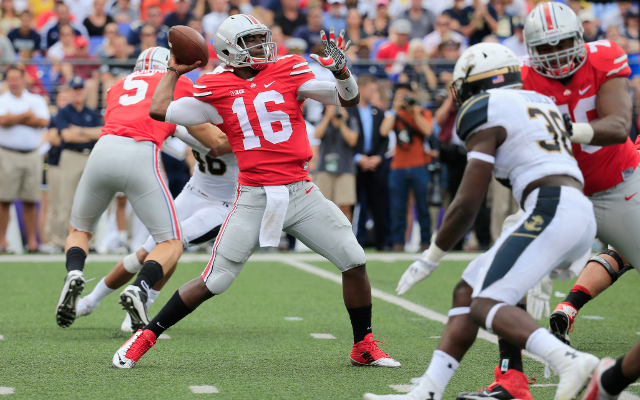 Ohio State quarterback J.T. Barrett throws six touchdown passes