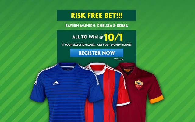 Paddy Power new account special: 10/1 Bayern Munich, Chelsea & Roma all to win – risk free bet!