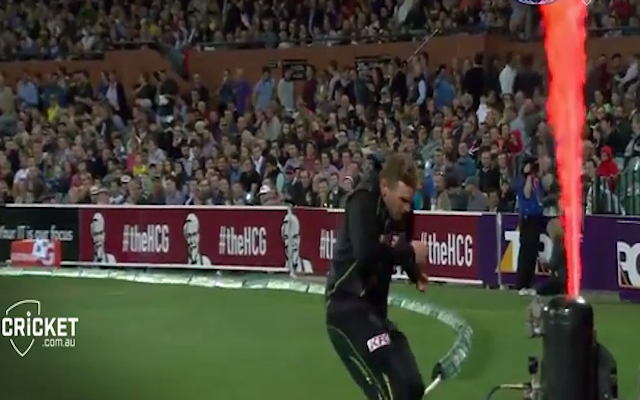 Flamethrowers banned on T20 boundary lines after Aaron Finch comes inches from being burned