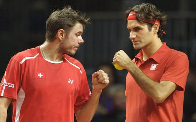 (Image) Roger Federer and Stan Wawrinka reconcile after falling out at ATP World Tour Finals