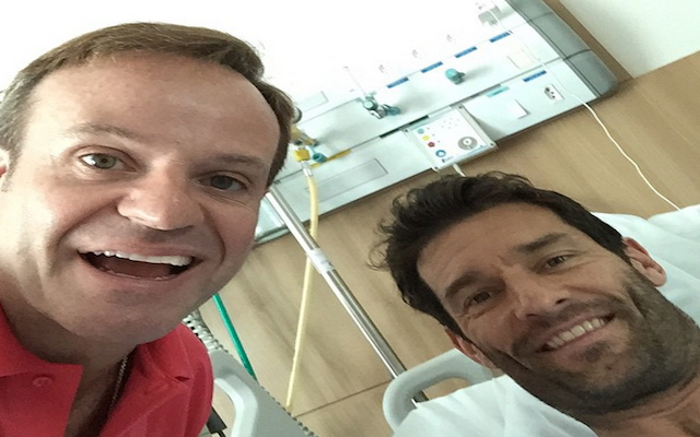 (Image) F1: Rubens Barrichello takes hospital selfie with Mark Webber following the former Red Bull driver's huge crash