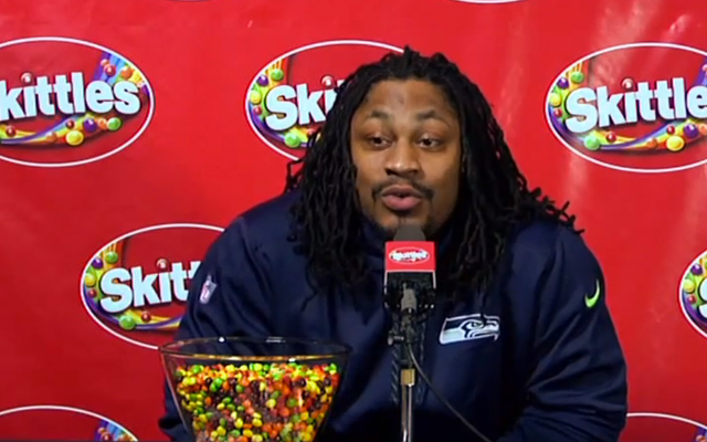 "Marshawn Lynch says ""You know why I'm here"" repeatedly at 2nd media day"