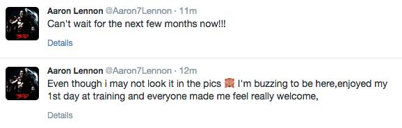 Aaron Lennon tweets