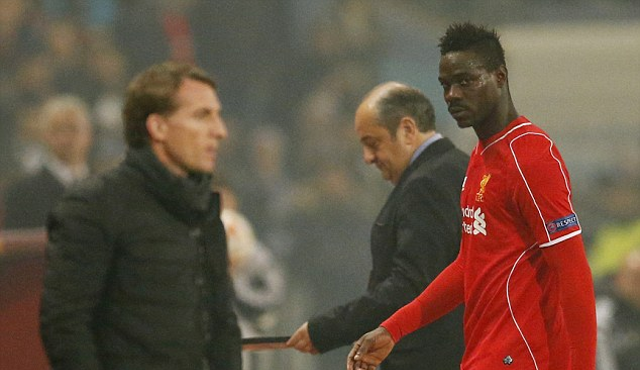 Snub the sub! Brendan Rodgers ignores Mario Balotelli when hooking Italian during Besiktas v Liverpool!